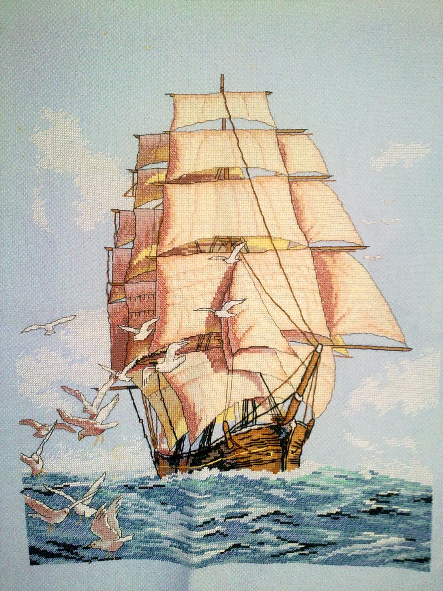 Вышивка крестом море и корабли