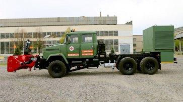 Спецавтомобиль со снегоуборочным оборудованием на полноприводном шасси КрАЗ-6322. Фото пресс-службы ПАО «АвтоКрАЗ»